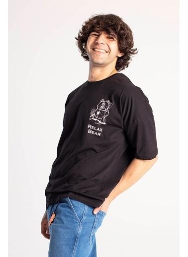 XHAN Siyah Önü & Arkası Baskılı Oversize T-Shirt 1Kxe1-44661-02 Siyah